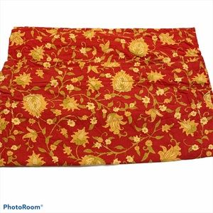 """Pottery Barn pair 29"""" square floral red euro shams"""